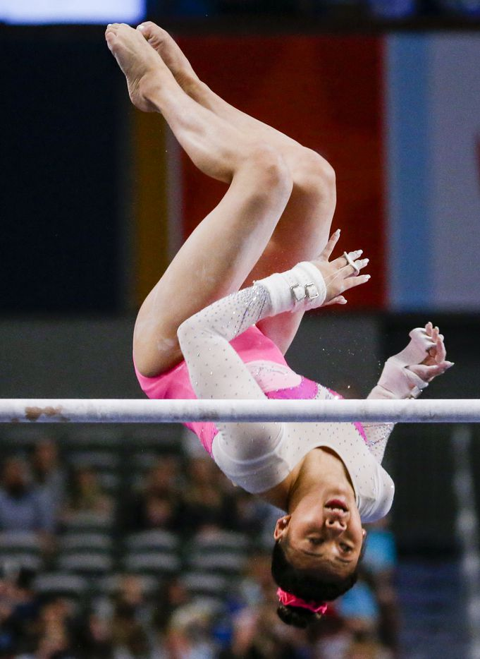 Sunisa Lee performs on the uneven bars during day 1 of the senior women's US gymnastics championships on Friday, June 4, 2021, at Dickies Arena in Fort Worth. (Juan Figueroa/The Dallas Morning News)