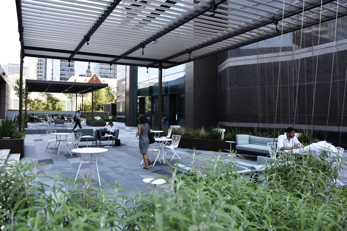 Outside meeting space for work breaks and lunch, part of the newly updated Trammell Crow Center.