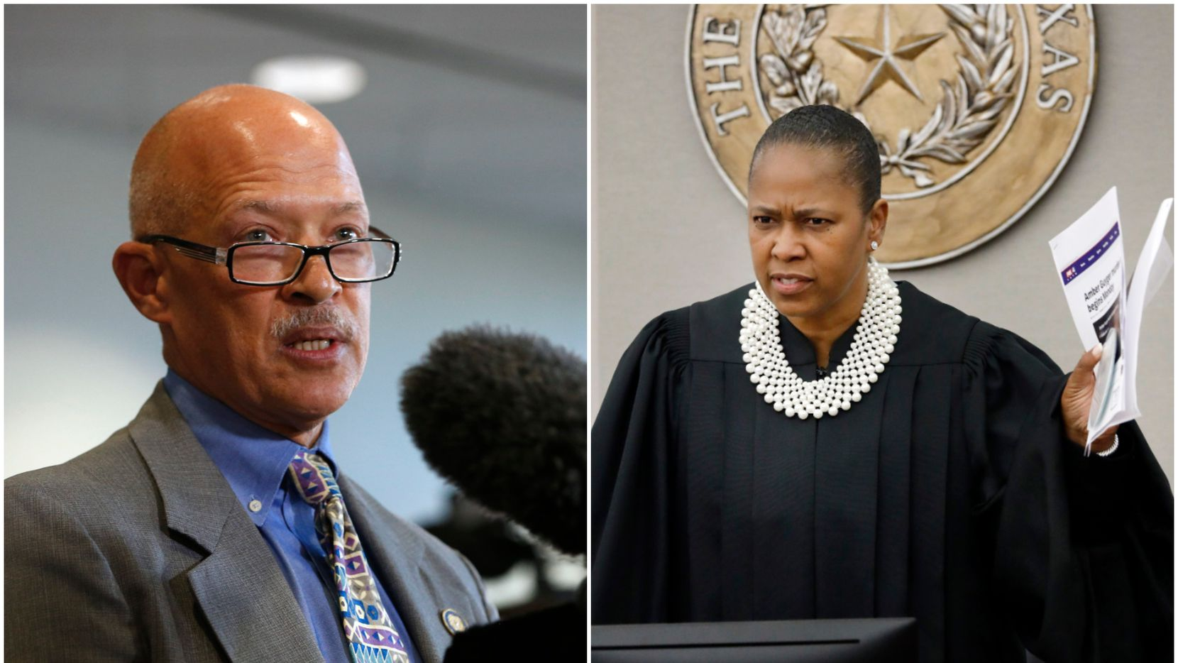 On the left, Dallas County District Attorney John Creuzot speaks to reporters after Amber Guyger's 10-year prison sentence. On the right, state District Judge Tammy Kemp is visibly upset to hear of an interview Creuzot did that aired on the eve of the Guyer trial.
