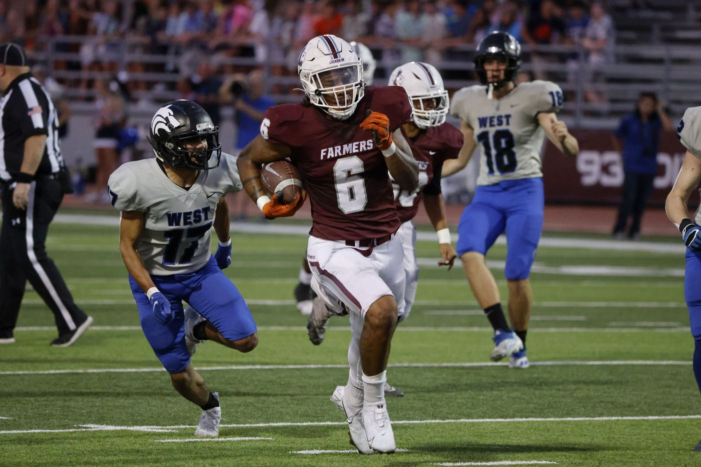 Plano West defender Gael Aguirre (17) chases as Lewisville running back Damien Martinez (6) runs for a toouchdown during the first half of a high school football game in Lewisville, Texas on Friday, Sept. 24, 2021. (Michael Ainsworth/Special Contributor)