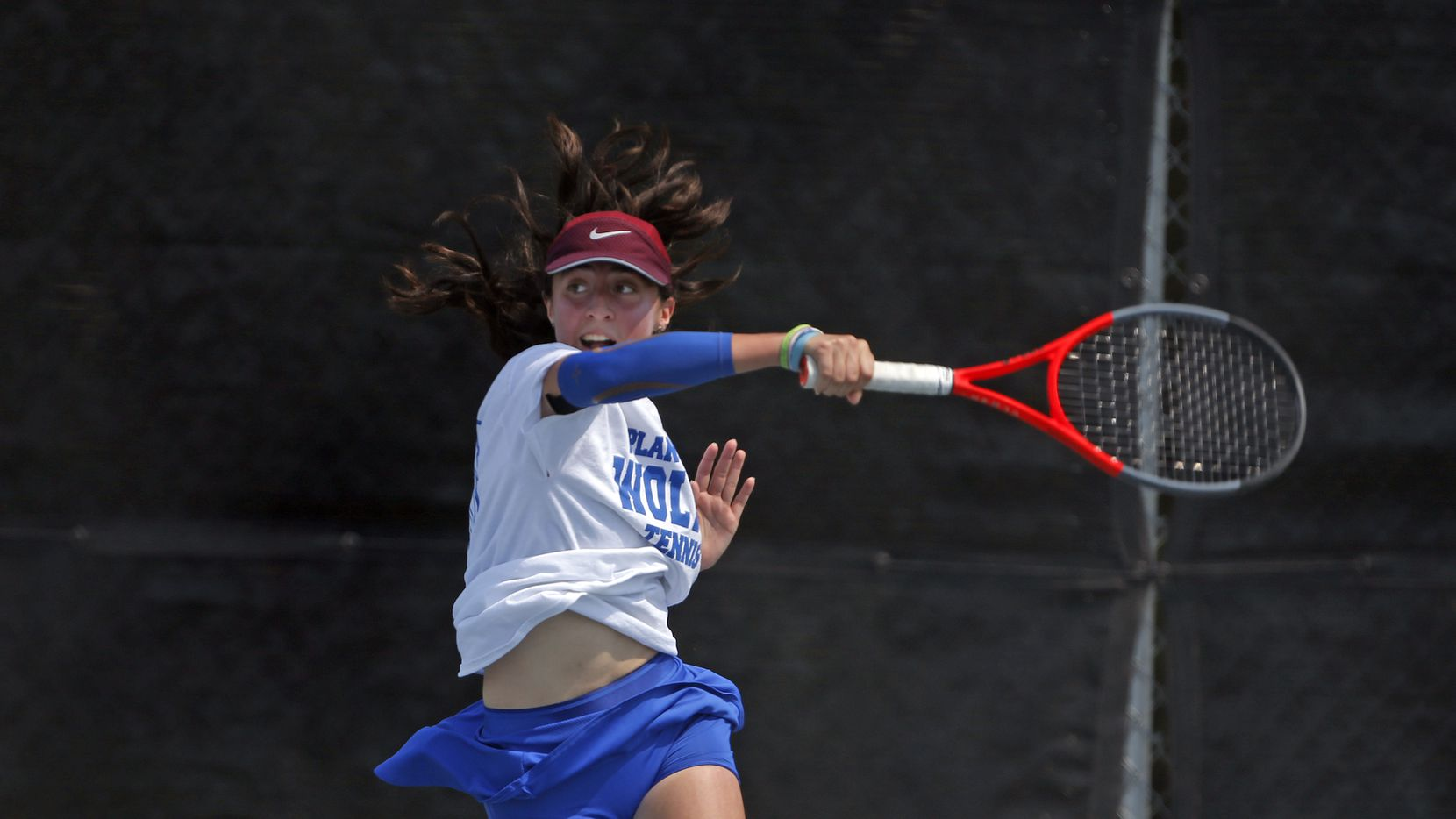 In a 6A girls singles match, Plano West's Natasha Opaciuch makes a return. UIL state tennis semifinals at Northside ISD Tennis Center on Thursday, May 20, 2021.