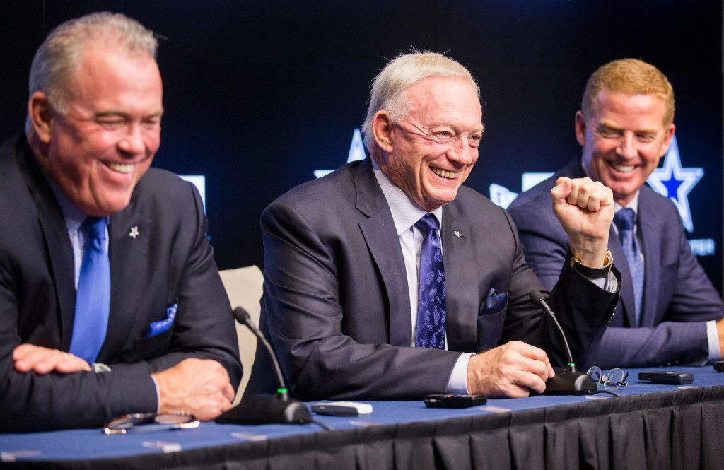 Dallas Cowboys Executive Vice President and CEO Stephen Jones, owner Jerry Jones and head coach Jason Garrett answer questions from reporters after round two and three of the 2017 NFL Draft on Friday, April 28, 2017 at The Star in Frisco, Texas. (Ashley Landis/The Dallas Morning News)