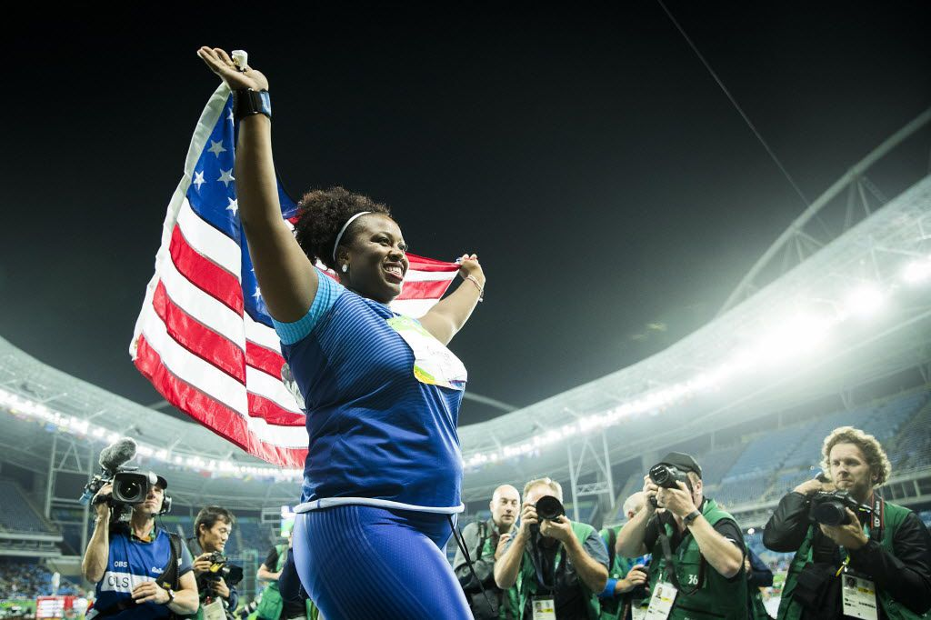 Michelle Carter celebrates after winning the gold at the Rio Olympics.