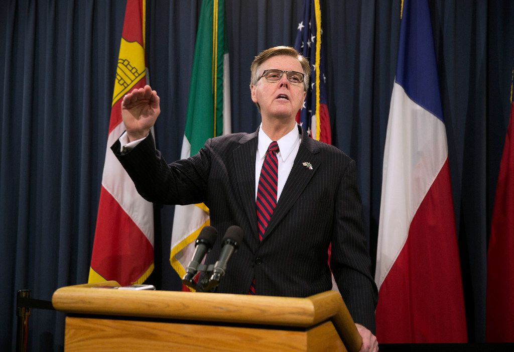 Lt. Governor Dan Patrick speaks during a news conference at the Capitol in Austin, Texas, on Wednesday, May 17, 2017. Lt. Gov. Patrick issued an ultimatum to the Texas House on Wednesday, saying he must see passage of two of his priorities — property tax relief and limits on transgender-friendly bathroom policies — before the Senate will act on key legislation to keep some state agencies operating. Patrick also said if the House fails to pass either priority, he will press Gov. Greg Abbott to call as many special sessions as necessary to gain approval. (Deborah Cannon/Austin American-Statesman via AP)