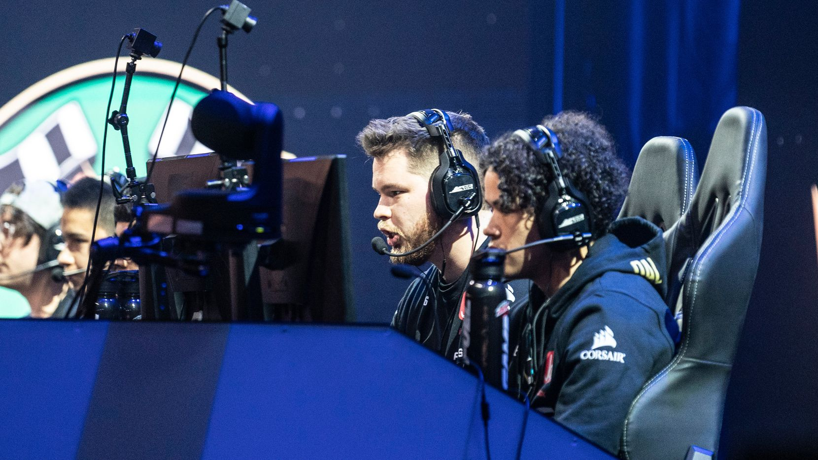 Crimsix (Ian Porter), second from right, and Huke (Cuyler Garland) work alongside their teammates as Dallas Empire competes against Chicago Huntsmen in the Call of Duty League Launch Weekend at the Armory in Minneapolis, Minn., January 24, 2020.