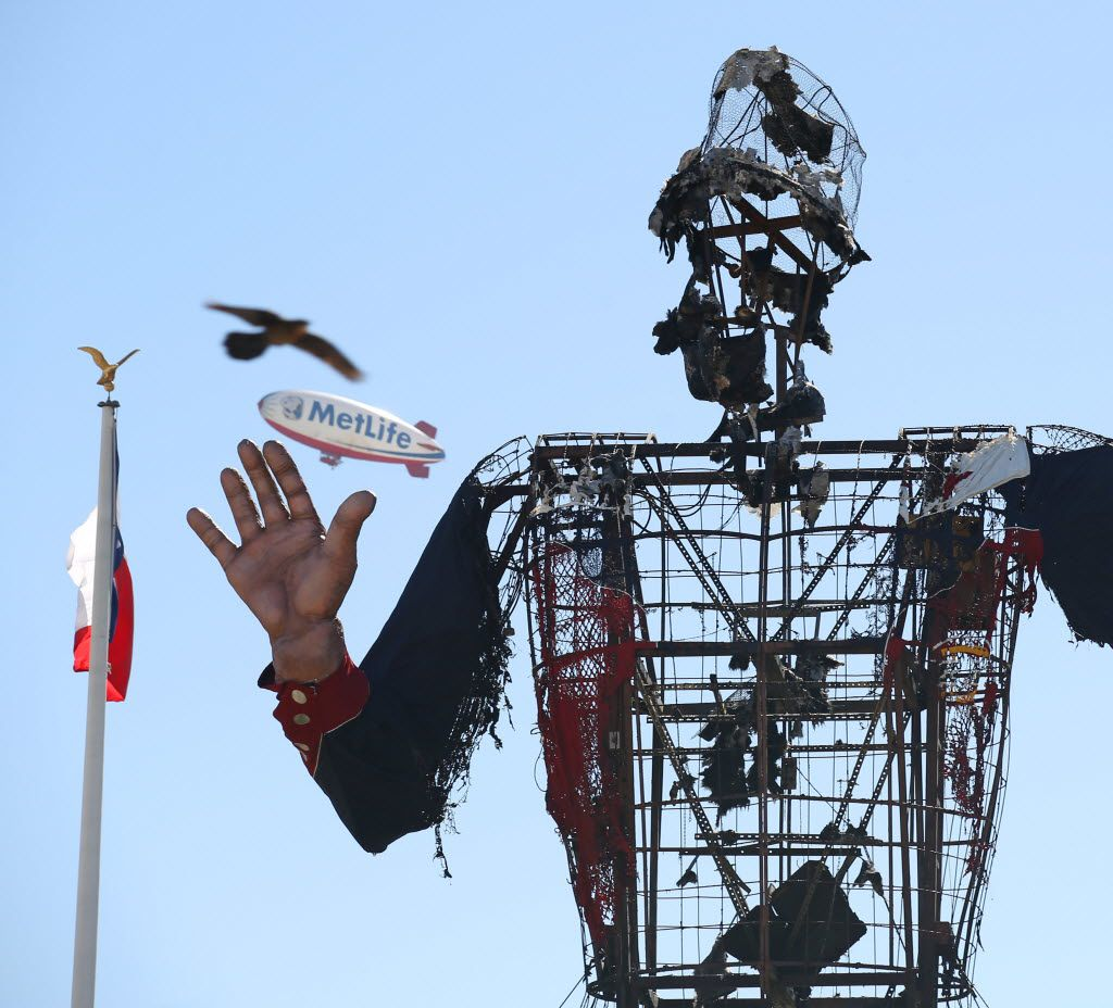 The remains of Big Tex after a fire took him down to the frame at the State Fair of Texas, in Fair Park, October 19, 2012 in Dallas, TX.