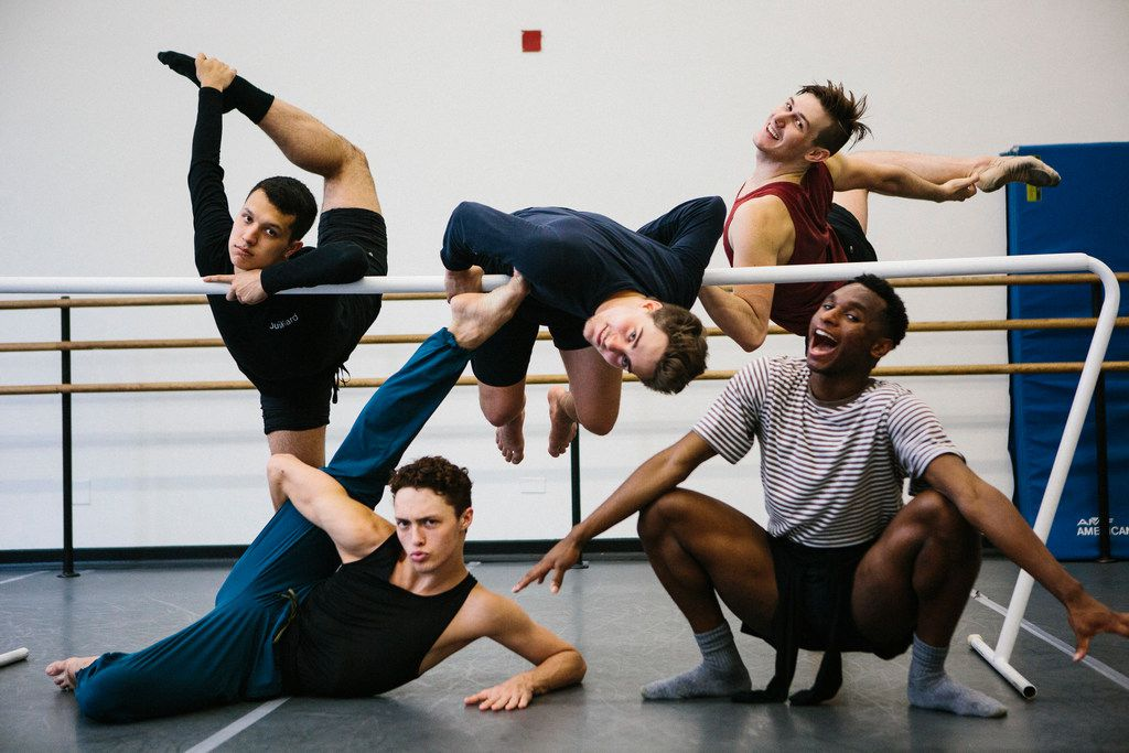 Booker T. Washington alumni Michael Garcia, 19 (top left), Zane Unger, 18, (top center), Todd Baker, 19, (top right), Kade Cummings, 19, (bottom left) and Ricardo Hartley, 19 (bottom right) pose for a portrait after first-year ballet class at the Julliard School.