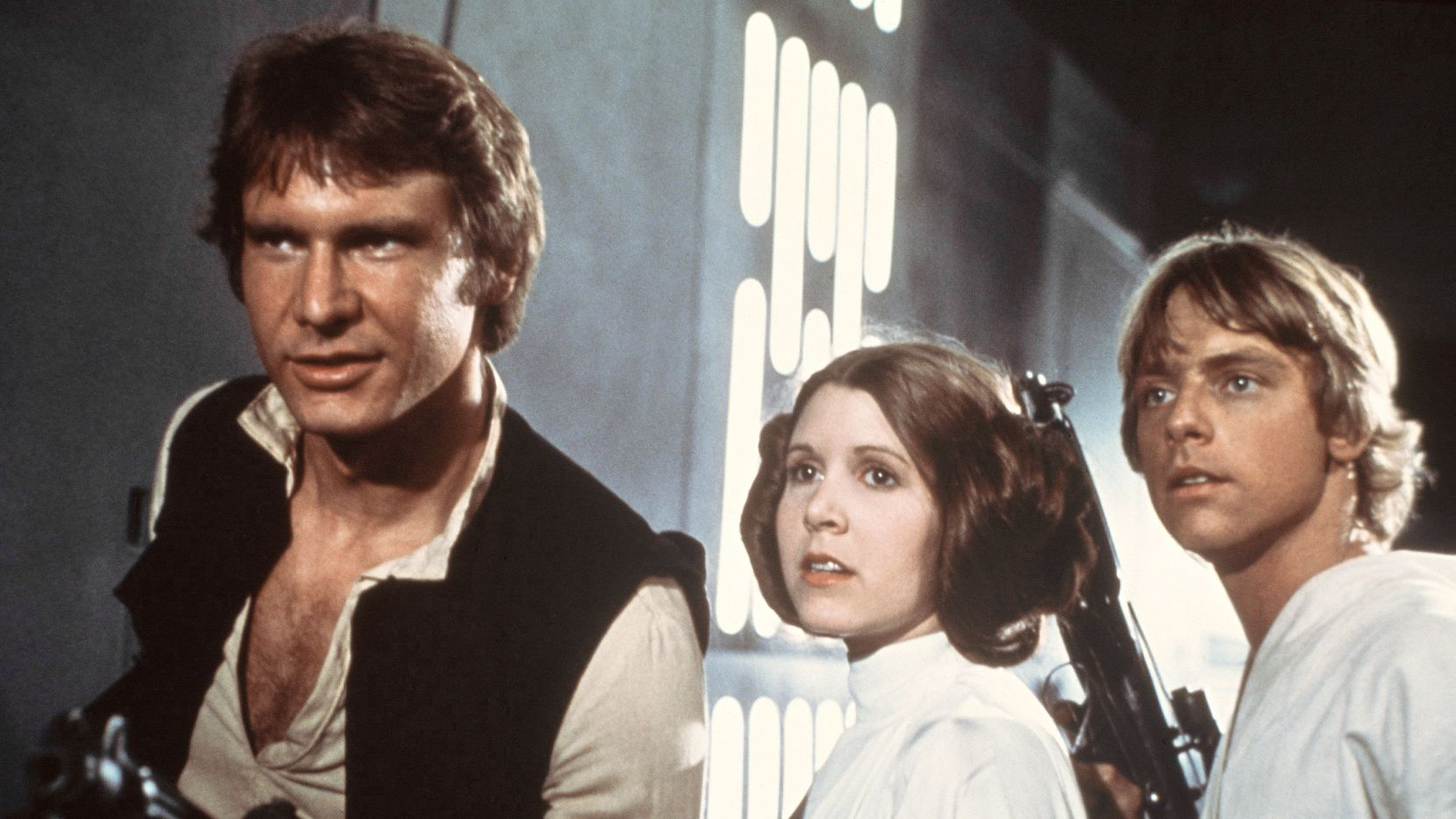 "Harrison Ford, Carrie Fisher and Mark Hamill in ""Star Wars"""