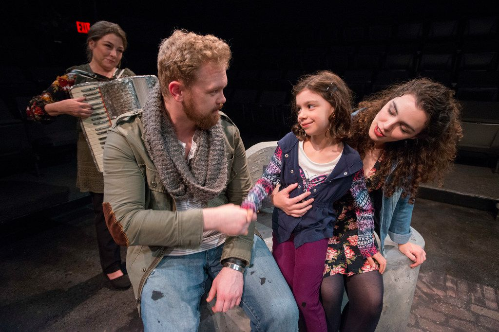 Kelly Winstead Miyake (left), Ian Ferguson, Dotty Rico and Cora Grace Winstead in Once  at Theatre Three.