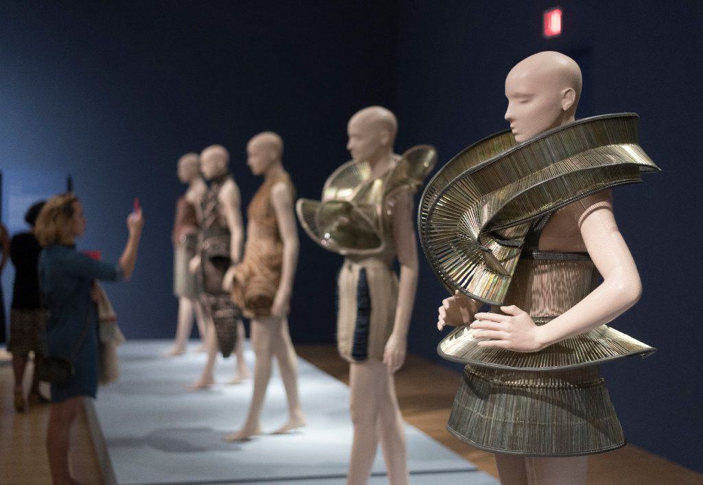 Dresses from fashion designer Iris van Herpen's Chemical Crows collection on display at the Dallas Museum of Art.