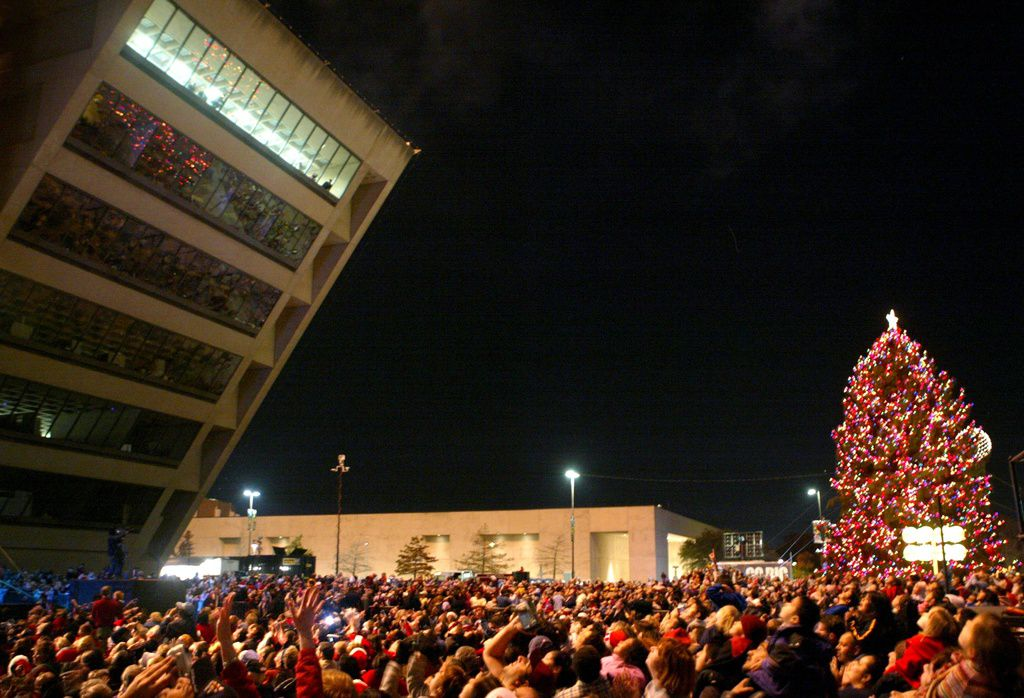 Thousands gather for the Christmas tree lighting ceremony at Dallas City Hall.