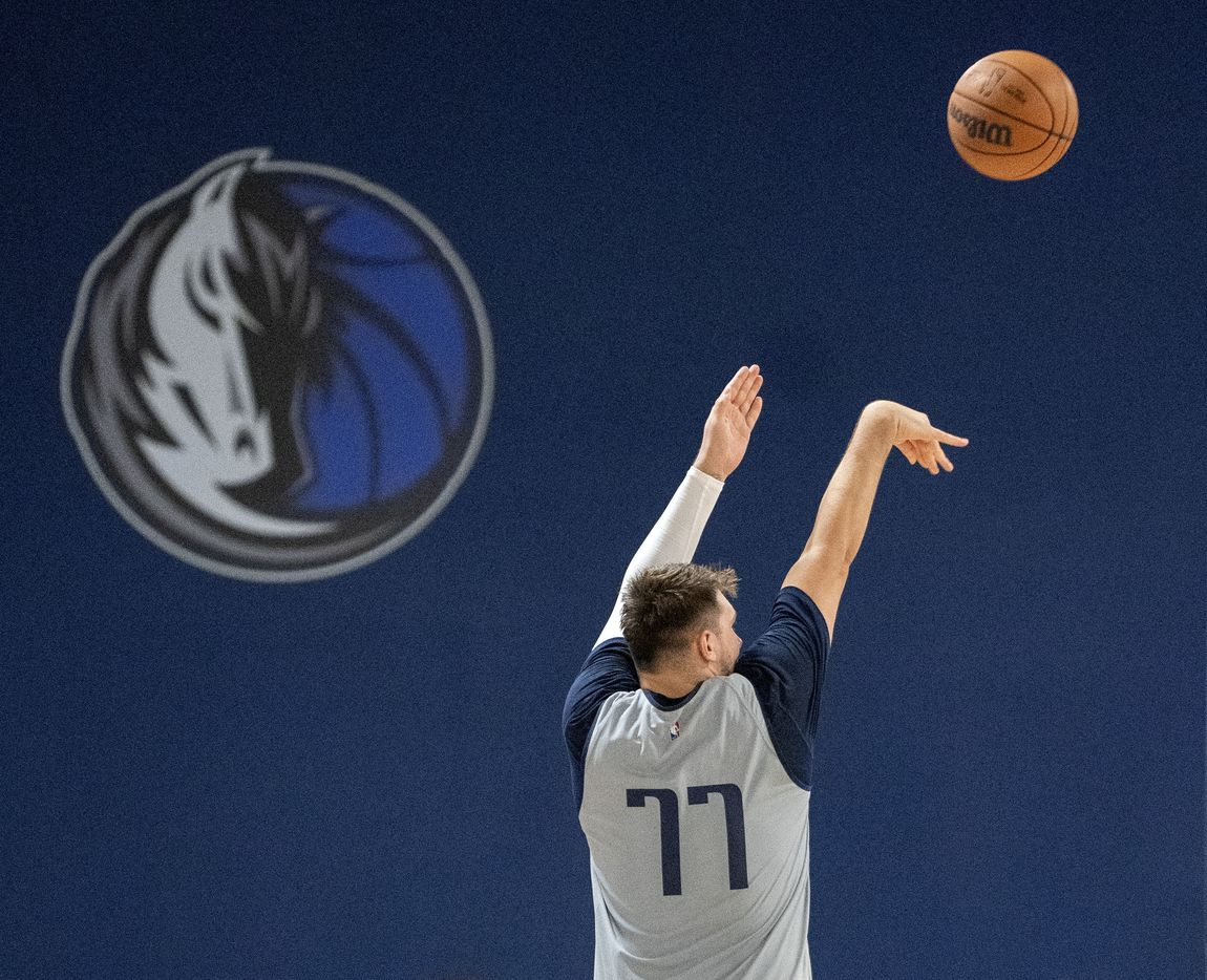 Dallas Mavericks guard Luka Dončić shoots three pointers during the first practice of training camp Tuesday, September 28, 2021 at the Dallas Mavericks Training Center in Dallas. (Jeffrey McWhorter/Special Contributor)