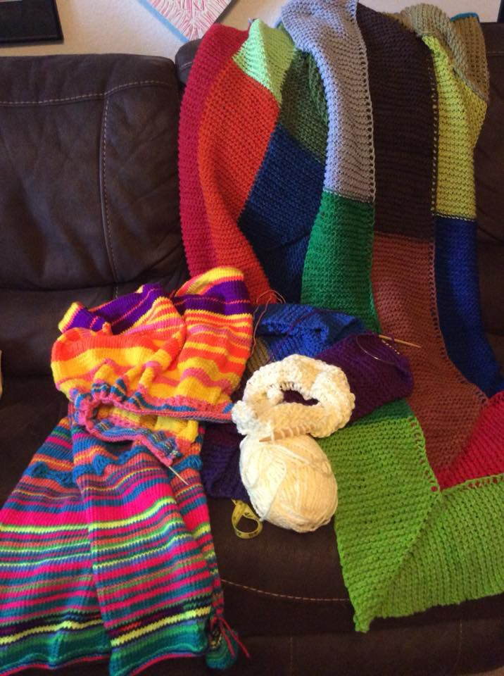 """Blanca Gonzales started this """"temperature blanket"""" on Jan. 1. """"Every day, I knit a row, using a color chart based on that day's highest temperature."""""""