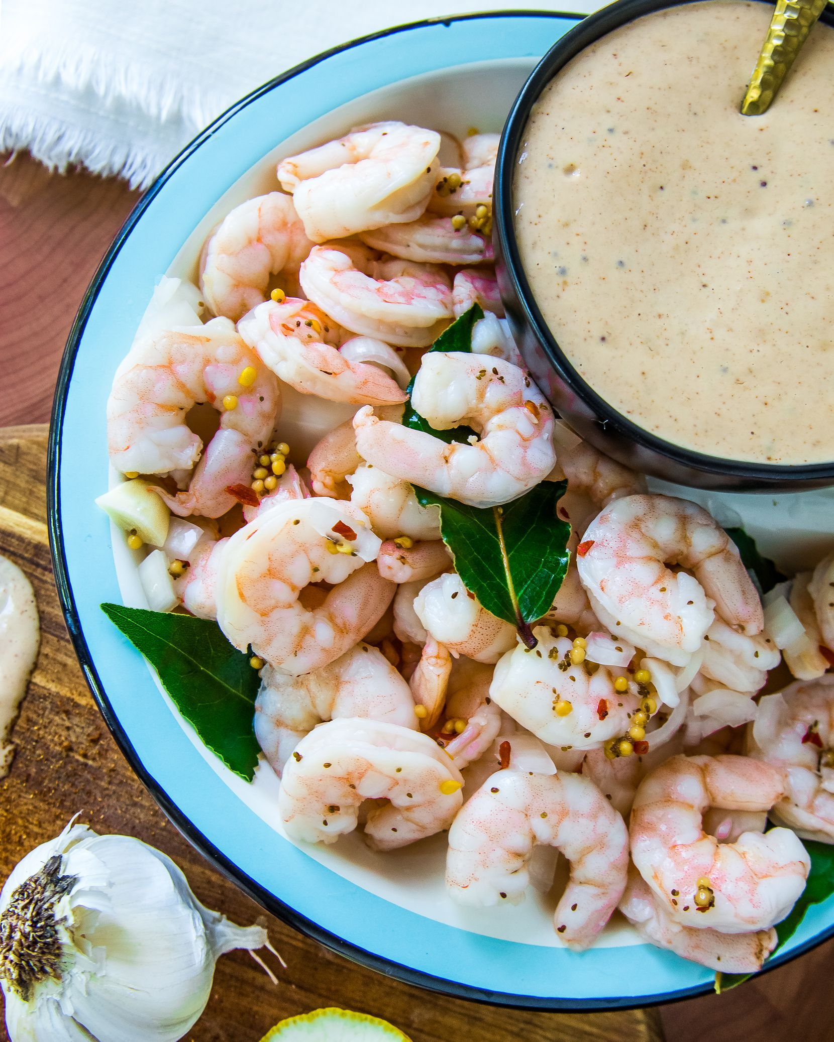 Pickled Shrimp with Mississippi Comeback Sauce is made with only a few ingredients.