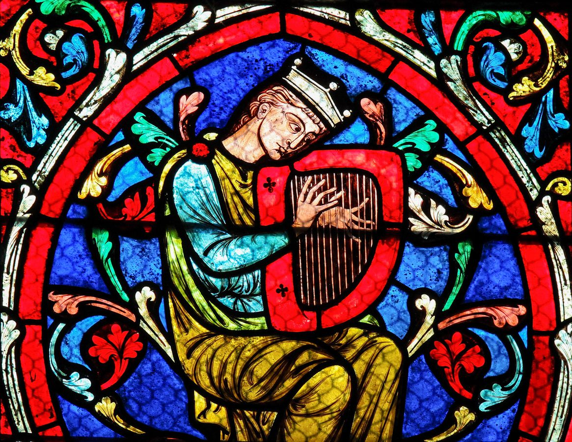 March 4, 2011: Stained-glass window in the Notre Dame Cathedral in Paris, depicts King David