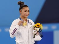 USA's Sunisa Lee after receiving her gold medal in the women's all-around final at the postponed 2020 Tokyo Olympics at Ariake Gymnastics Centre, on Thursday, July 29, 2021, in Tokyo, Japan.