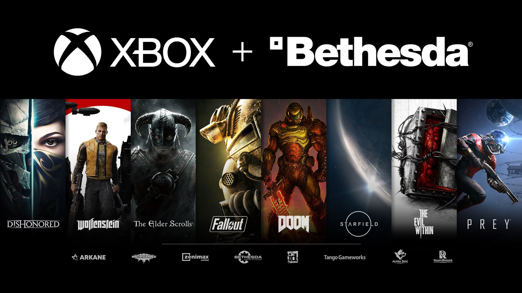 An image released by Microsoft alongside the announcement that they are acquiring ZeniMax Media, parent company of Bethesda.
