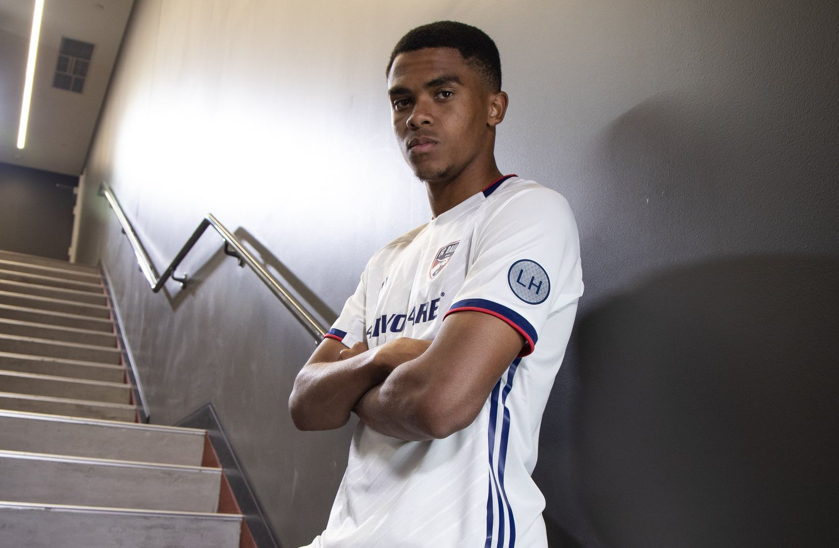 Reggie Cannon is all business in the new FC Dallas 2019 secondary kit.