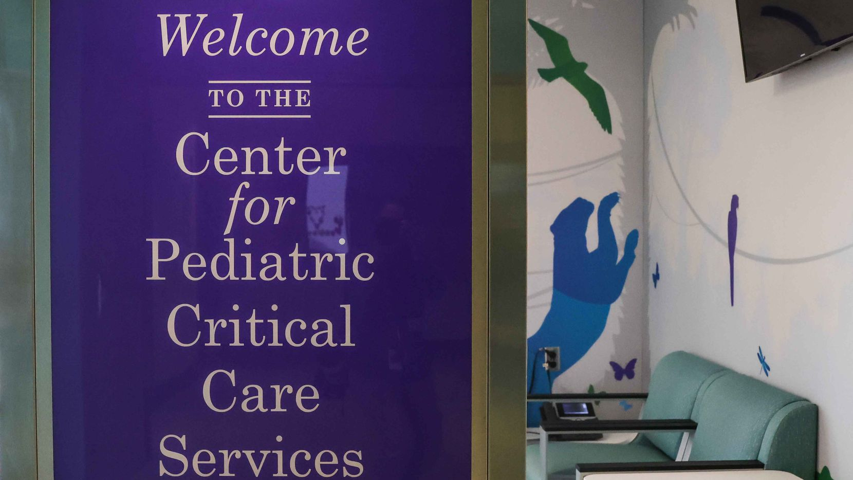 Entrance of the Children's Medical Center's pediatric intensive care unit in Dallas on Friday, August 13, 2021.