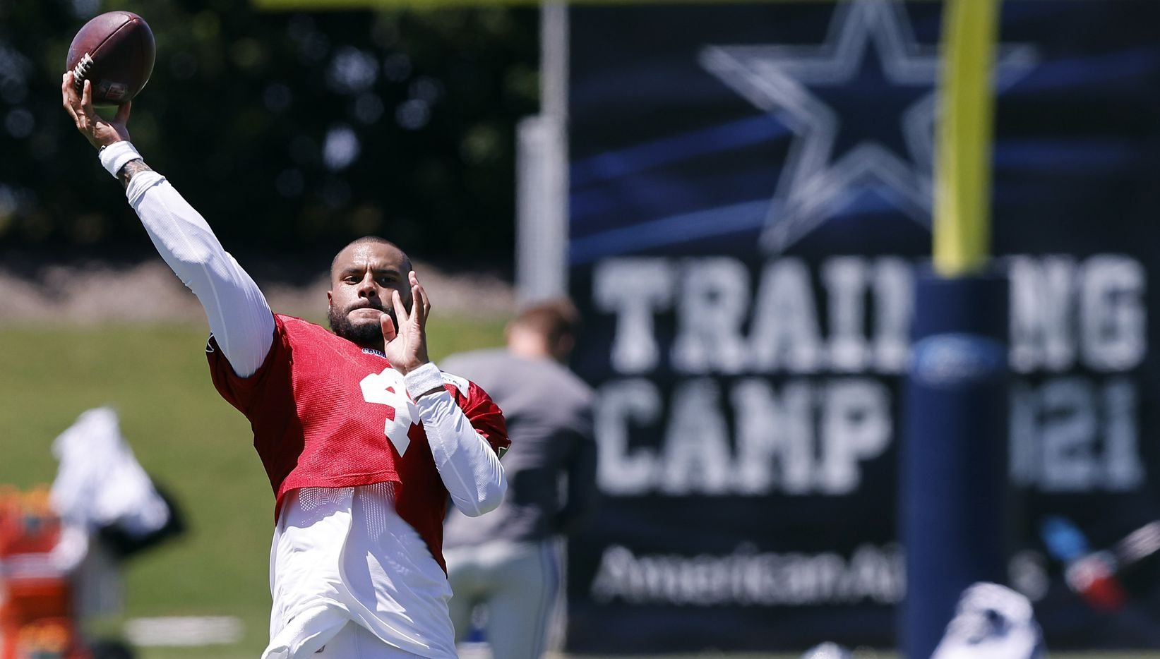 Dallas Cowboys quarterback Dak Prescott (4) throws passes after Training Camp practice at The Star in Frisco, Texas, Tuesday, August 24, 2021.(Tom Fox/The Dallas Morning News)
