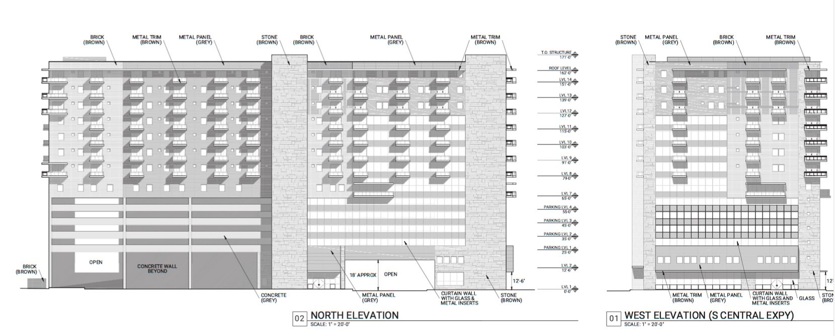 A 14-story apartment and retail tower would be constructed on the north side of the property.