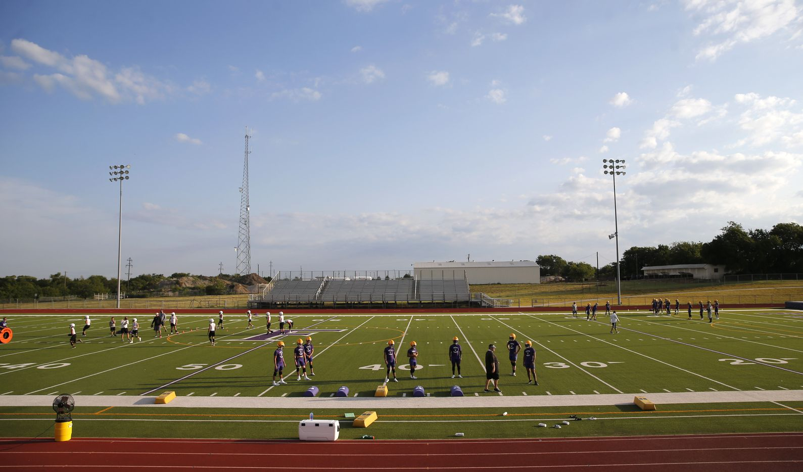 Farmersville High School football team during the first day of high school football practice for 4A's Farmersville High School in Farmersville, Texas on Monday, August 3, 2020. (Vernon Bryant/The Dallas Morning News)