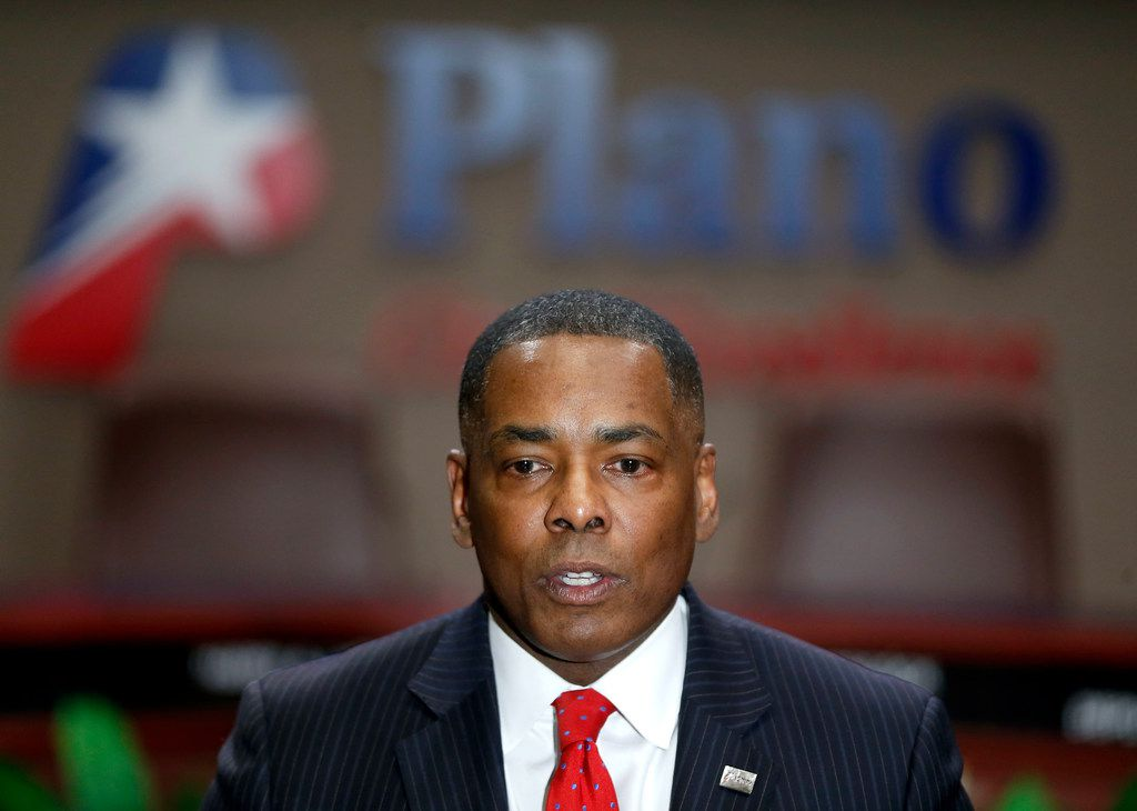 Mayor Harry LaRosiliere speaks during a news conference at Plano Municipal Center on Feb. 14, 2018. The mayor called for the immediate resignation of Plano City Council member Tom Harrison, who shared an anti-Islamic post on his Facebook page.