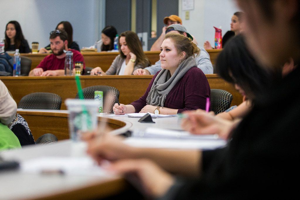 Students listen during an accounting class at the Cox School of Business. Jim Rossman has compiled a gift guide for high school and college students who are about to head back to school.