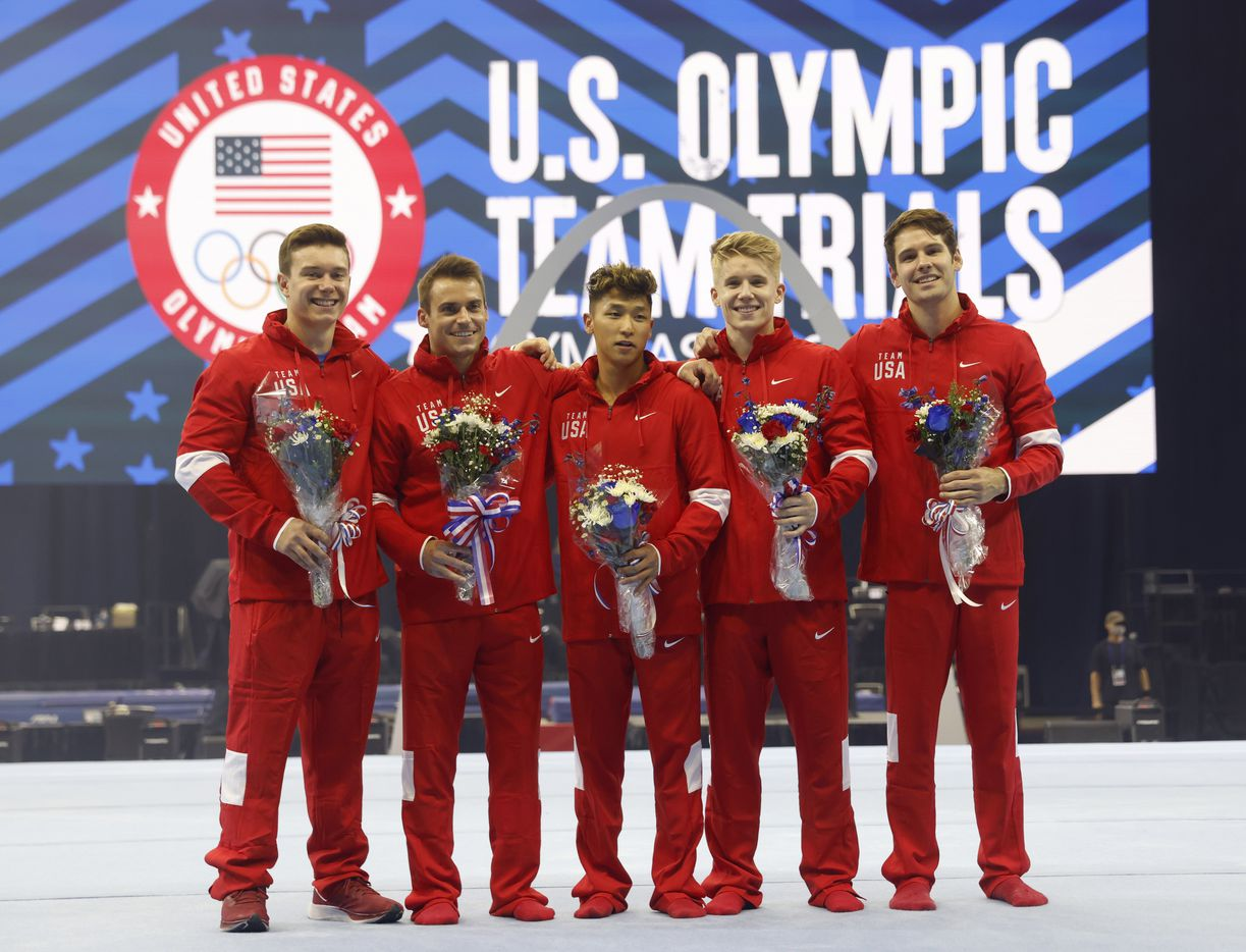 Brody Malone, Sam Mikulak, Yul Moldauer, Shane Wiskus, and Alec Yoder pose for a portrait after the U.S. men's olympic team was introduced during day 2 of the men's 2021 U.S. Olympic Trials at America's Center on Saturday, June 26, 2021 in St Louis, Missouri.(Vernon Bryant/The Dallas Morning News)