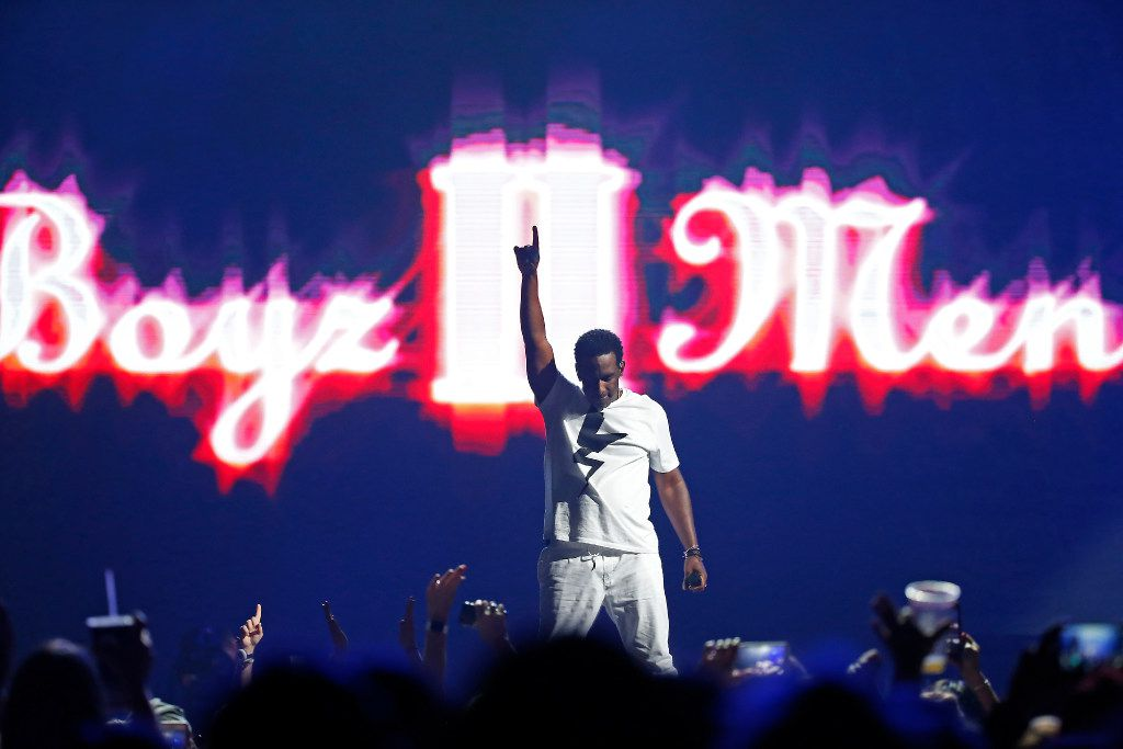 Shawn Stockman of Boyz II Men performs on stage during the Total Package Tour at American Airlines Center in Dallas, Tuesday, May 23, 2017. (Jae S. Lee/The Dallas Morning News)