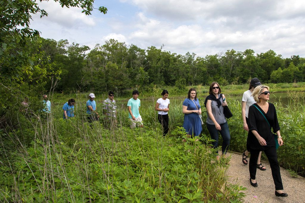 Interns with The Dallas Morning News hike during the annual tour of Dallas led by Robert Wilonsky, a columnist with DMN, at Trinity River Audubon Center in Dallas on June 12, 2018.