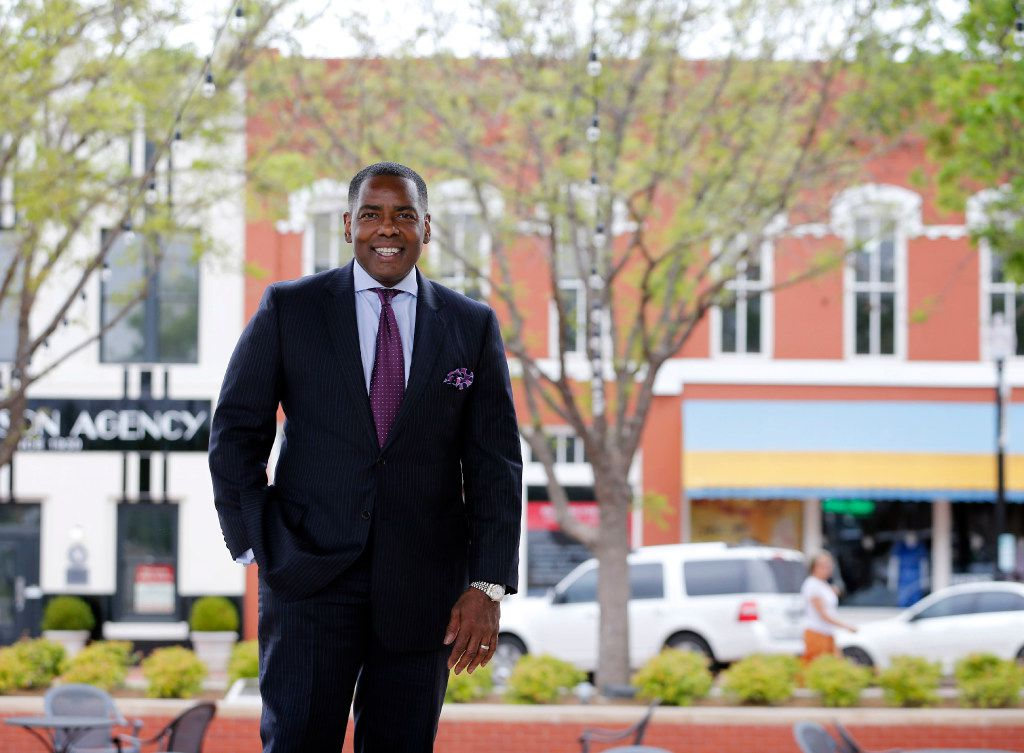 Plano Mayor Harry LaRosiliere poses for a portrait in downtown Plano during a tour of Plano on April 10, 2017. (Vernon Bryant/The Dallas Morning News)