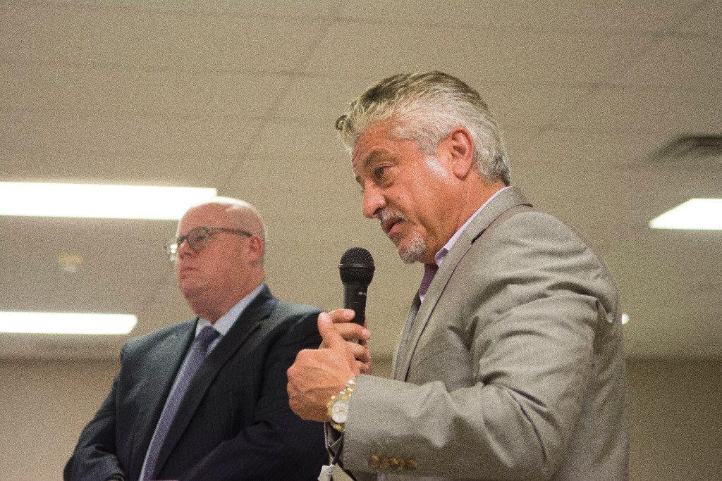Centurion American Development Group CEO Mehrdad Moayedi addresses the Aubrey City Council.