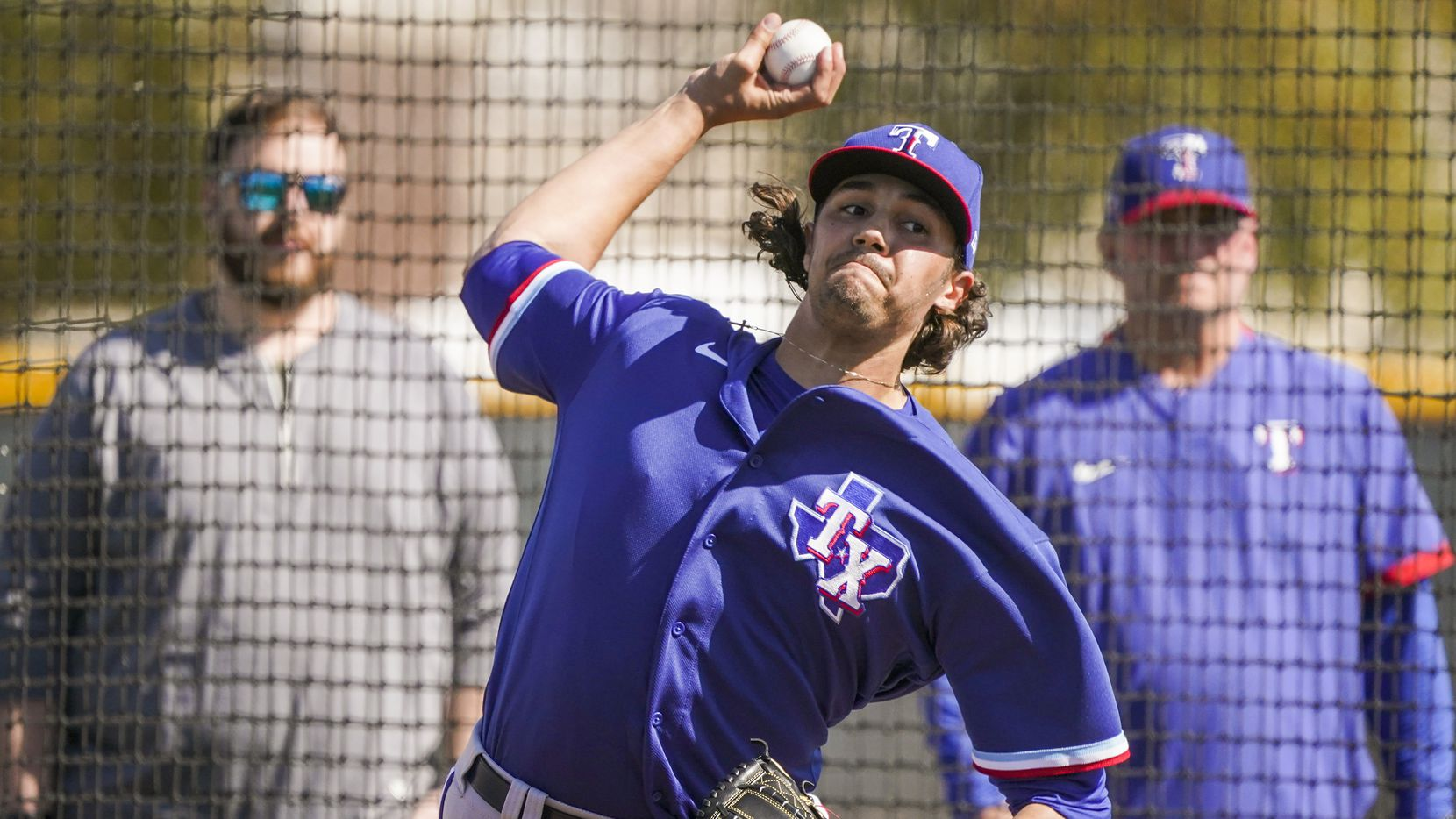 Rangers pitcher Tyler Phillips throws live batting practice during a spring training workout at the team's training facility on Tuesday, Feb. 18, 2020, in Surprise, Ariz.