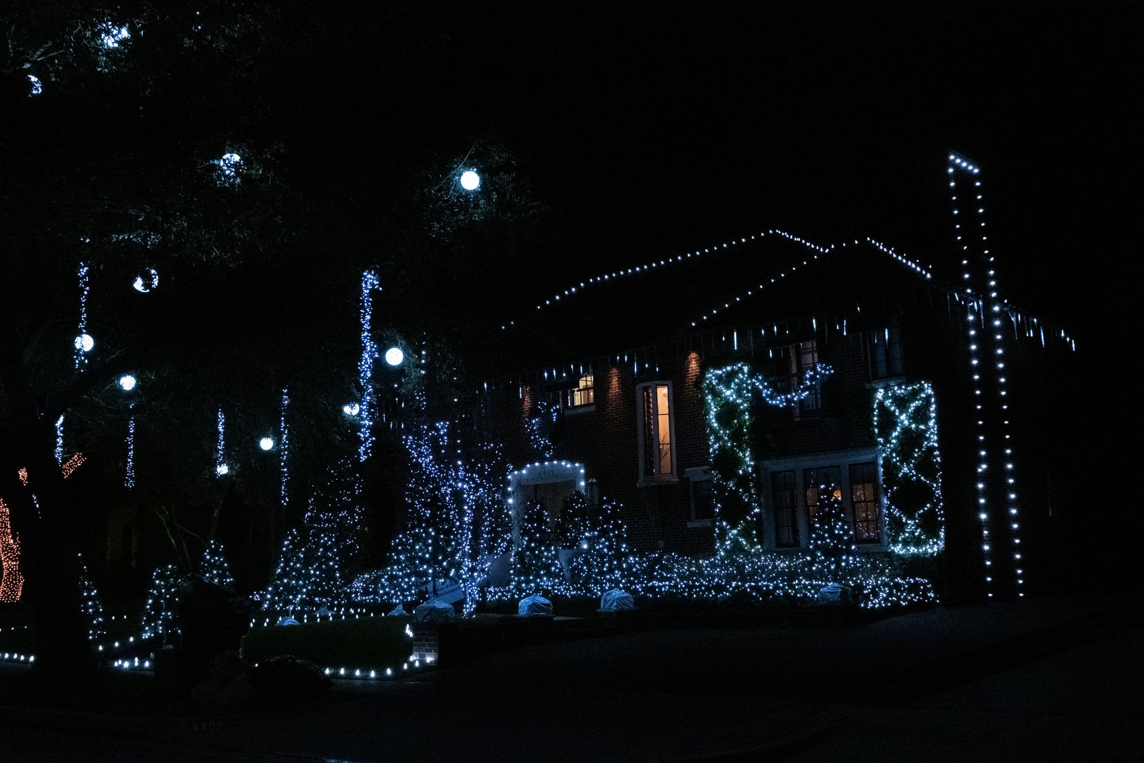 A home in Highland Park is lighted and decorated for the holiday season.