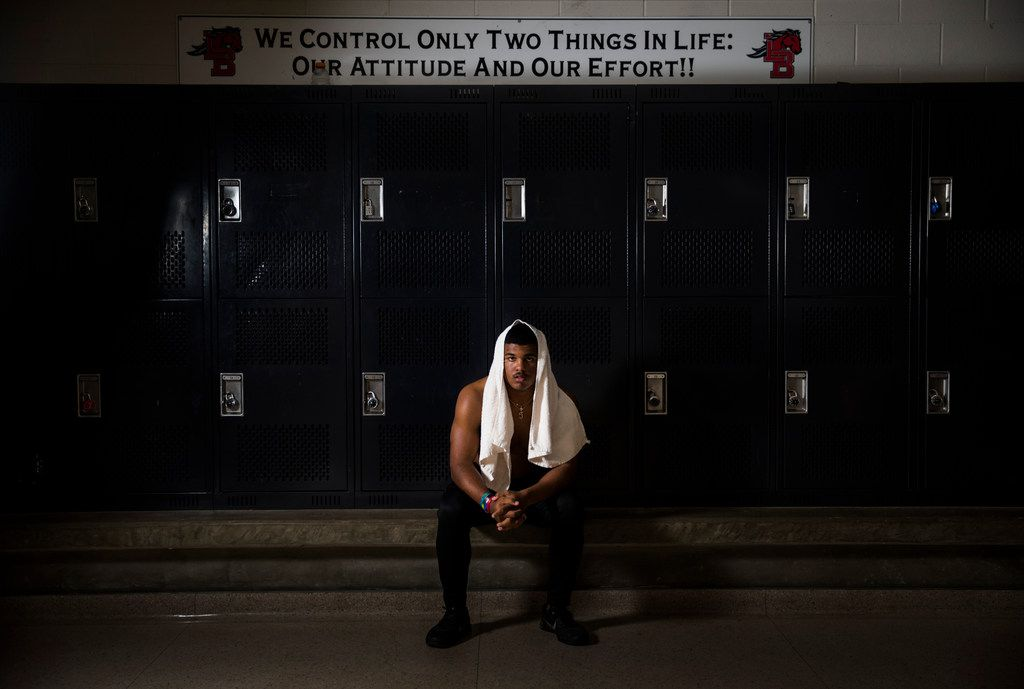 Mansfield Legacy football player Jalen Catalon poses for a portrait in the locker room on Thursday, January 31, 2019 at Mansfield Legacy High School in Mansfield. Catalon's senior football season was ended by a torn left ACL. After surgery and months of rehab, he will sign to play football in the fall at University of Arkansas. (Ashley Landis/The Dallas Morning News)