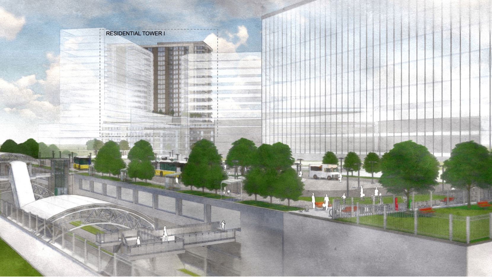 Four towers are planned on what are now the parking lots for the DART commuter rail station.
