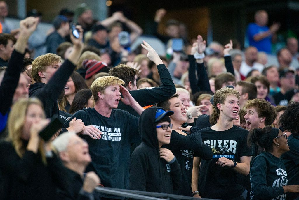 Denton Guyer fans react in disbelief after their team pulls ahead by one point against Cedar Hill during the fourth quarter of a Class 6A Division II area-round high school football playoff game at the AT&T Stadium in Arlington, Texas, on Saturday, November 23, 2019. (Lynda M. Gonzalez/The Dallas Morning News)