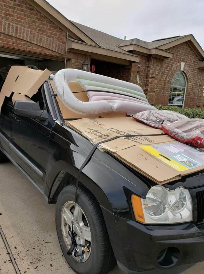 Jessica Pennell, of Anna, used a mix of household items to protect her car from damaging hail.