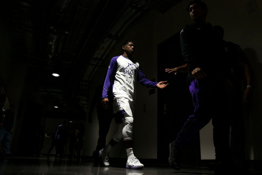 TCU Horned Frogs guard Kendric Davis (5) walks to the court during an NCAA basketball game at Schollmaier Arena Fort Worth, Texas on Saturday, March 2, 2019. (Shaban Athuman/The Dallas Morning News)