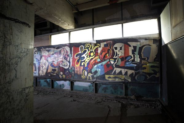 """Workers tearing down a wall at the old Statler Hilton hotel found a mural signed """"Jack Lubin '56."""""""