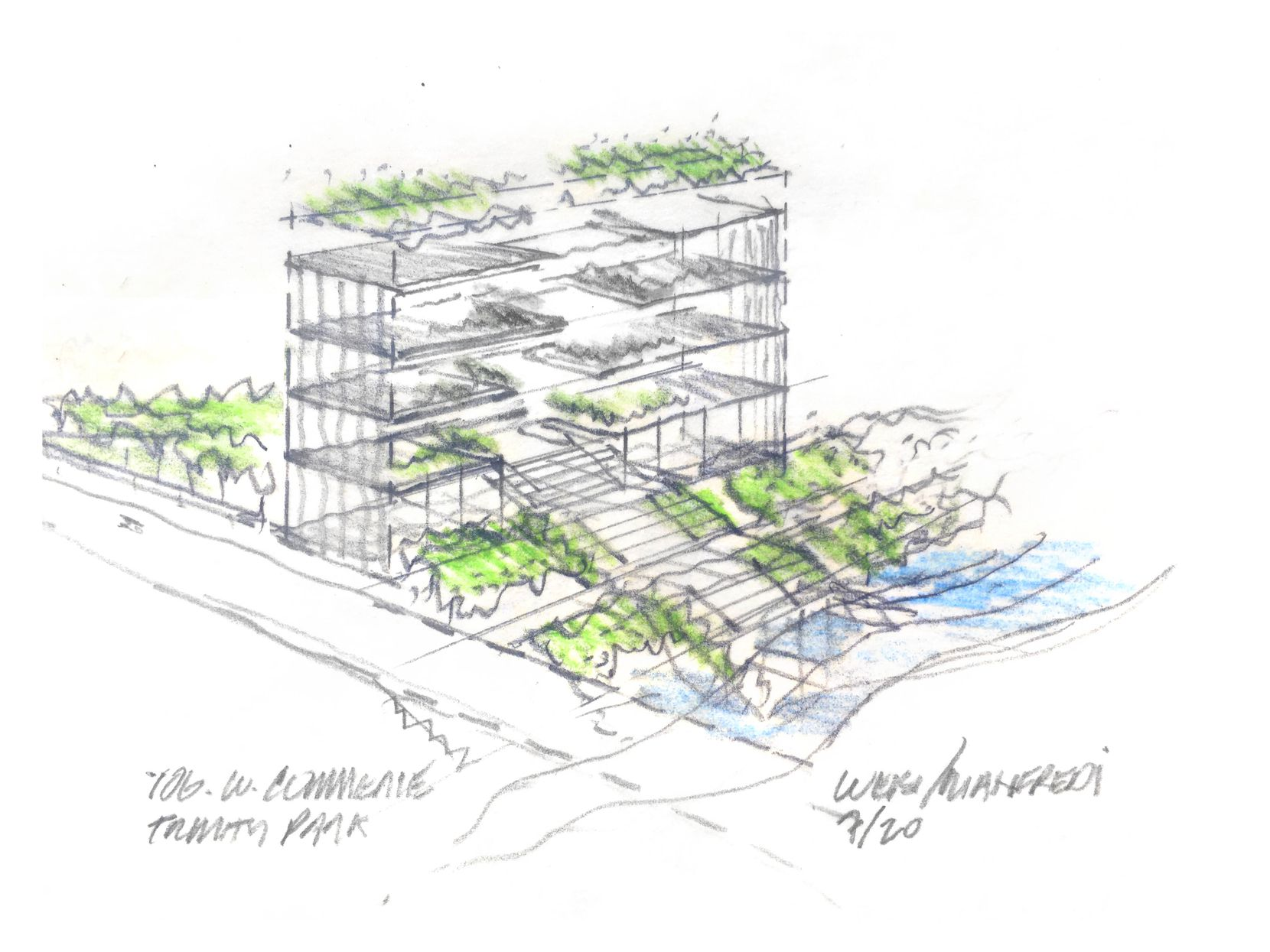 A sketch by Weiss/Manfredi architects shows design inspiration for its renovation of the former Dawson Jail on Commerce Street to help open it up to views of the Trinity.