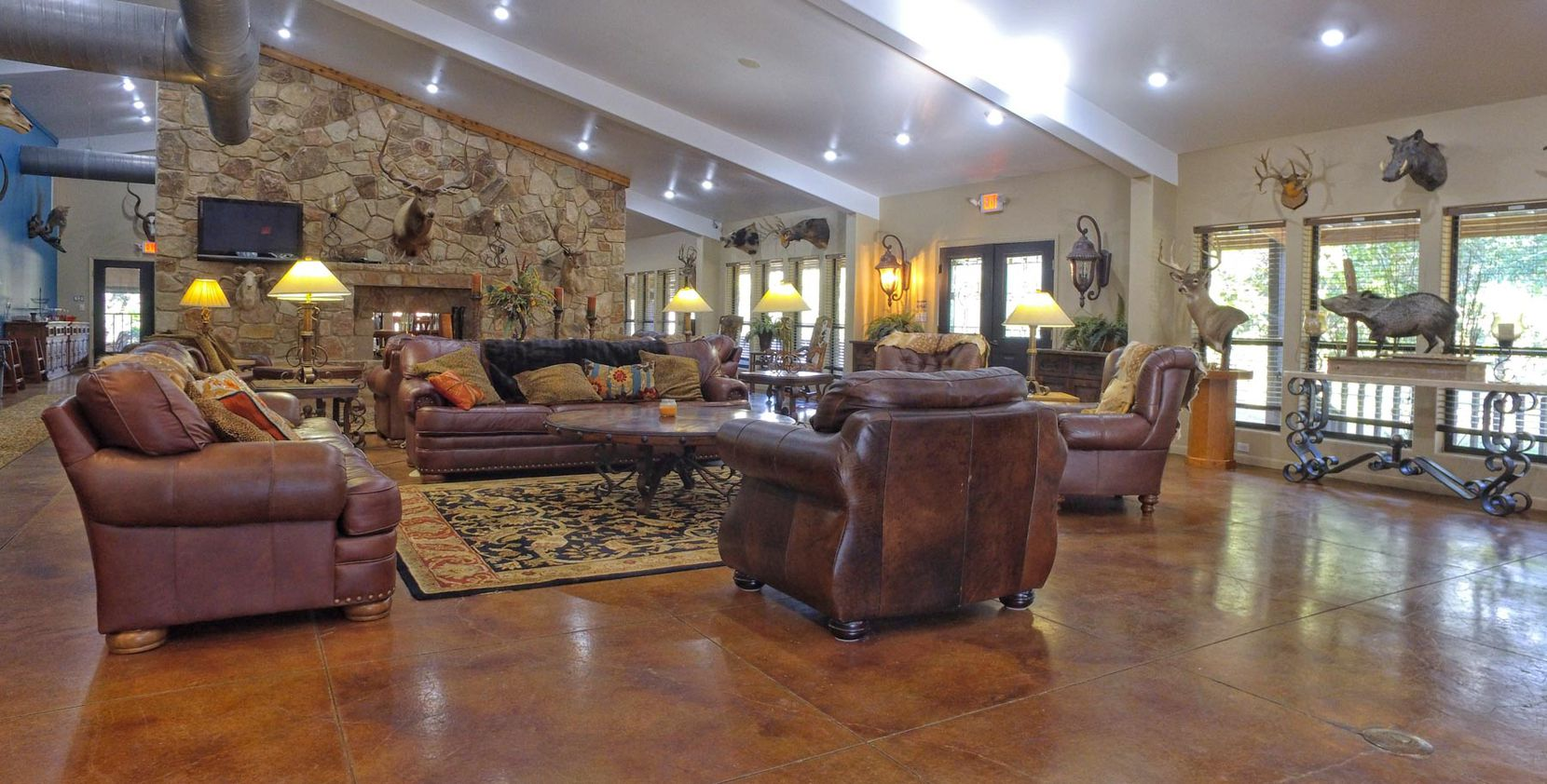 The main lodge has several living areas.