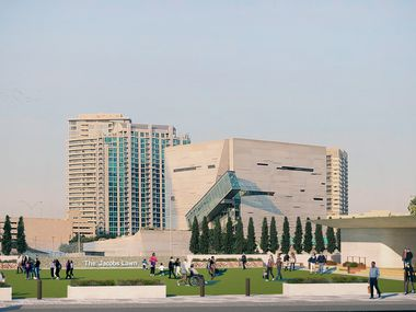 The Jacobs Lawn as viewed conceptually from Akard Street looking west toward the Perot Museum of Nature and Science.  The 37,000-square-foot multi-use venue will provide space for a variety of events, including festivals and markets.