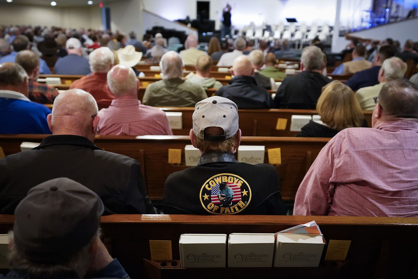 A full church listens as Jimmy Meeks speaks during a  church safety seminar at North Pointe Baptist Church on Sunday, Jan. 26, 2020, in Hurst, Texas.