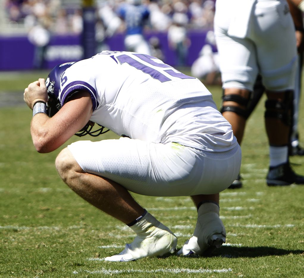 TCU quarterback Max Duggan (15) reacts after missing a long pass attempt during 4th quarter action against SMU. The two teams played their NCAA football game at Amon G. Carter Stadium on the campus of TCU in Fort Worth on September 25, 2021. (Steve Hamm/ Special Contributor)