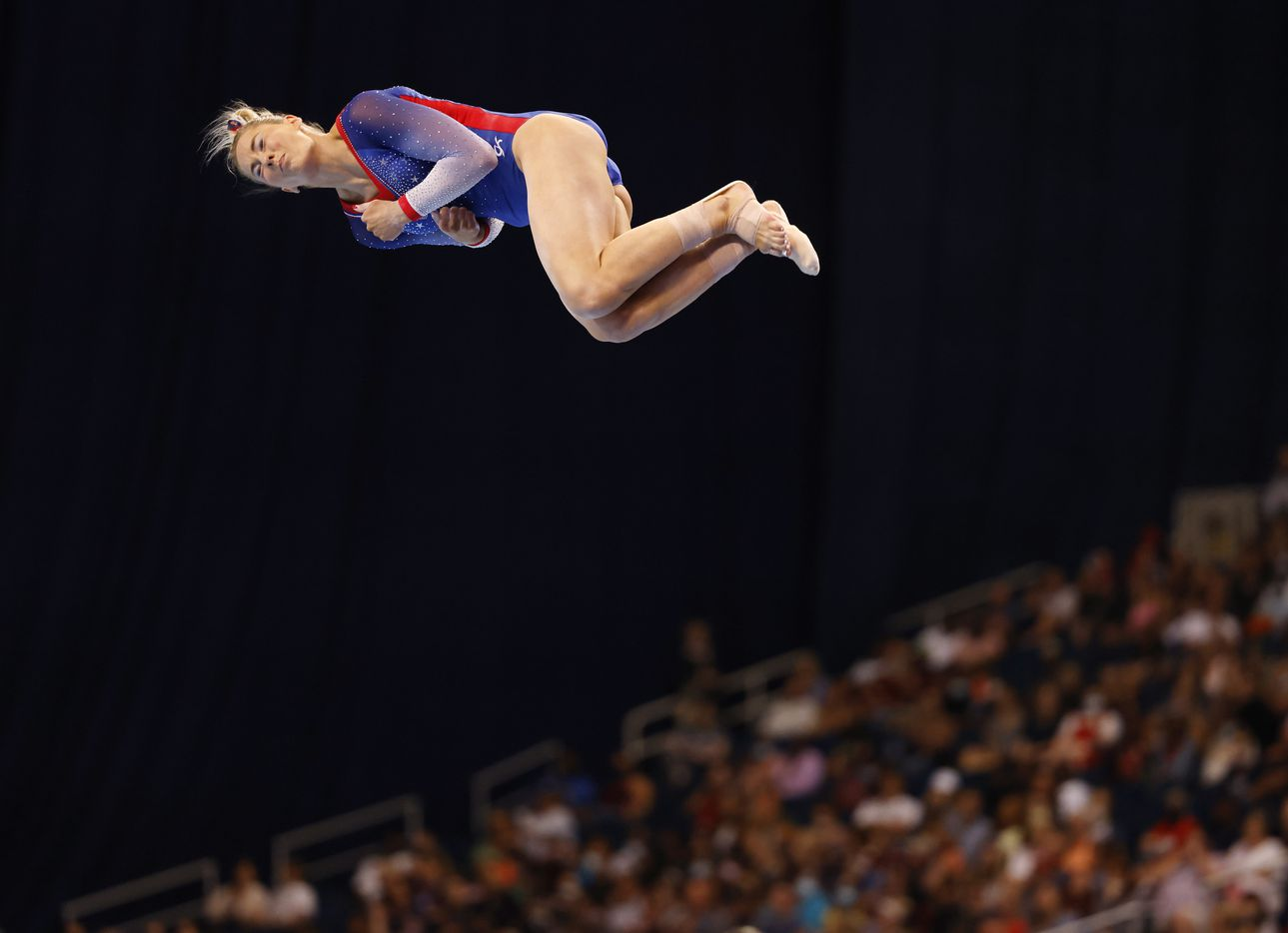 MyKayla Skinner competes in the floor exercise during day 2 of the women's 2021 U.S. Olympic Trials at The Dome at America's Center on Saturday, June 27, 2021 in St Louis, Missouri.(Vernon Bryant/The Dallas Morning News)