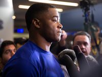 FILE - Cowboys wide receiver Amari Cooper talks to reporters after a team meeting at The Star on Dec. 30, 2019 in Frisco.