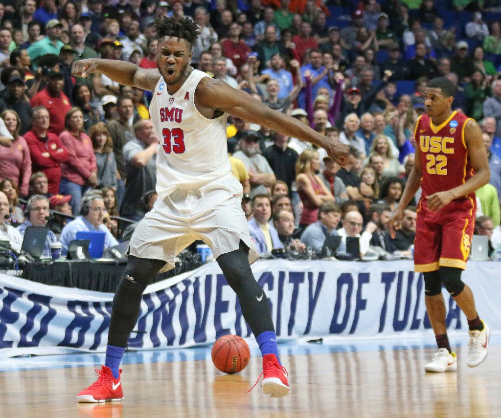 SMU forward Semi Ojeleye (33) celebrates the officials rewarding possession to the Mustangs in the second half during the SMU Mustangs vs. the USC Trojans NCAA basketball game at the BOK Center in Tulsa, Oklahoma on Friday, March 17, 2017. (Louis DeLuca/The Dallas Morning News)