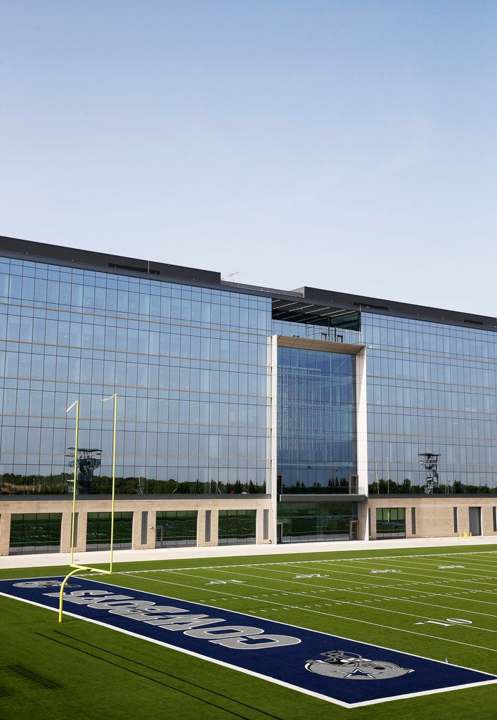 One of the Dallas Cowboys' two outdoor practice fields at the team's headquarters at The Star in Frisco